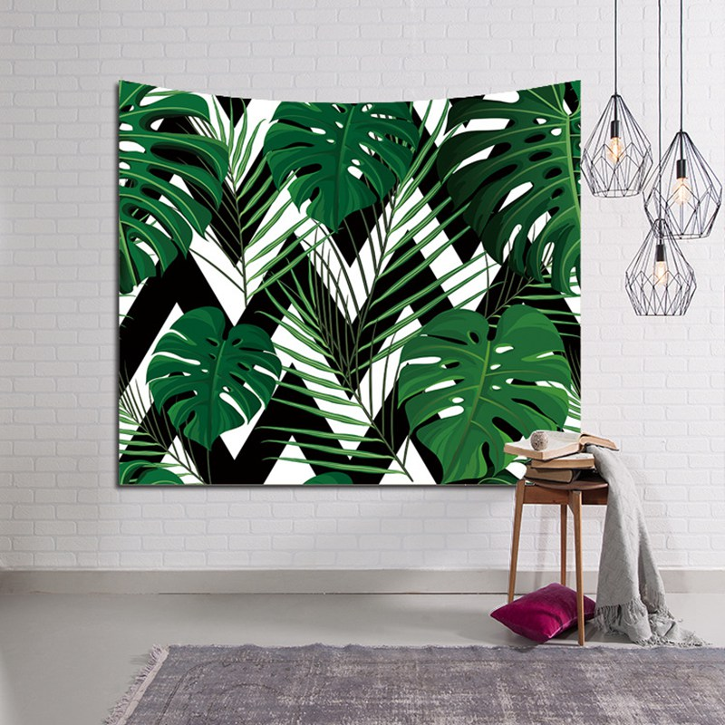 Polyster stoff tropic pflanzen green leaf tapisserie wandbehang Dekorative Tür Vorhang Wohnzimmer decke