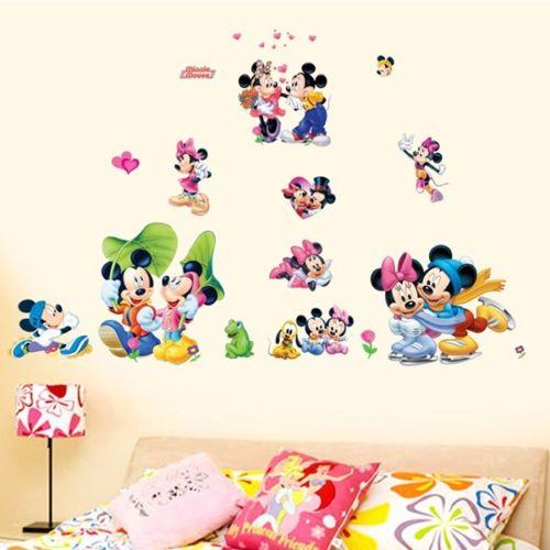 Mickey & Minnie Mouse Wall Sticker Boys Girls Kids Room Decor Mural Art Decals asd