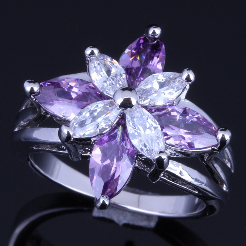 Lujosa Rana púrpura Circonia cúbica blanca CZ anillo plateado V0133