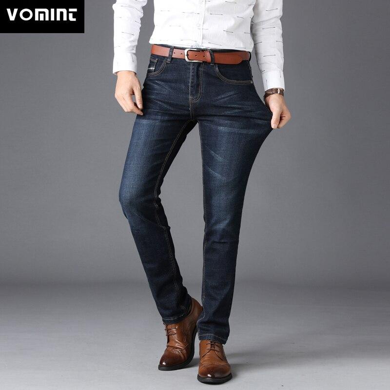 Мужские классические джинсы VOMINT, классические прямые брюки для отдыха, большие размеры 40, без ремешка