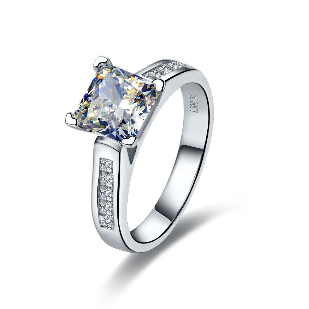 Jealous 2Ct Diamond Engagement Wedding Rings for Women Platinum 950 Ring Best Gift