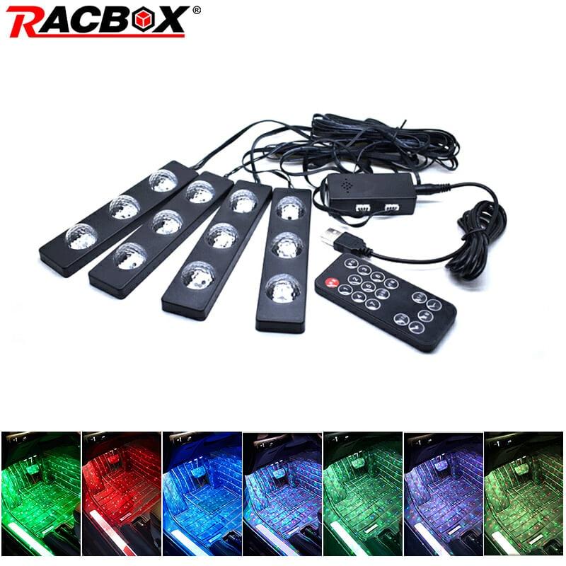 7 color de la tira de luz Led posición de conducción de luz Lámpara decorativa Interior con inalámbrico remoto Control de música del atmósfera del coche de la luz