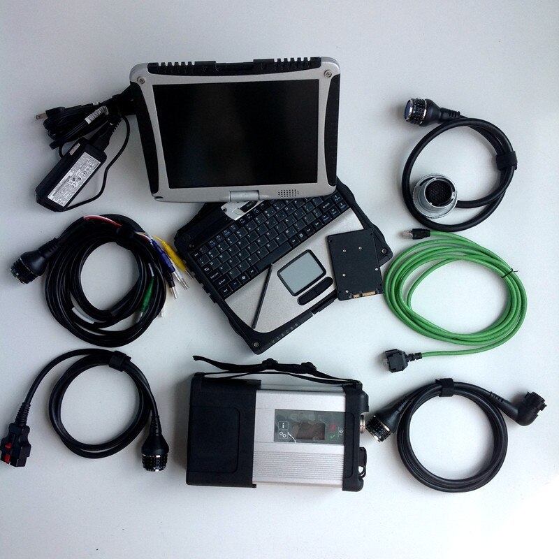 MB Star C5 con ordenador portátil CF19 Toughbook de Panasonic diagnóstico PC instalada bueno último MB SD C5 Software V2020.09 Super SSD