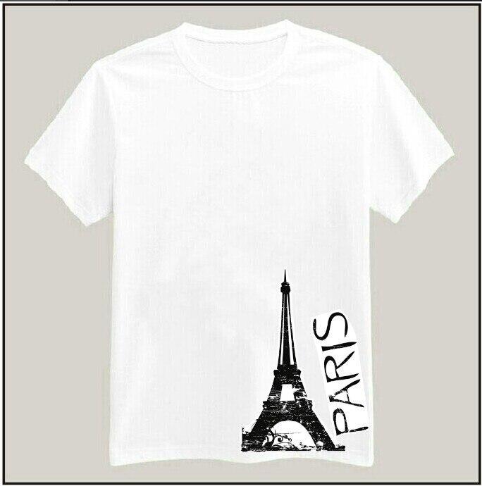 Camiseta de algodón con estampado de torre de París para mujer, Camiseta...