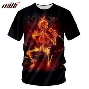 UJWI Man Hipster O Nect Tshirt Street Style High Quality Men's Polyester Tee Shirt 3D Printed Novel Singing Skulls T-shirt