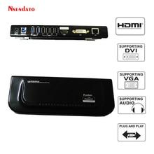 USB 3.0 USB 2.0 Station daccueil universelle double écran vidéo support HDMI/DVI/VGA pour moniteur Gigabit Ethernet écouteurs et micro