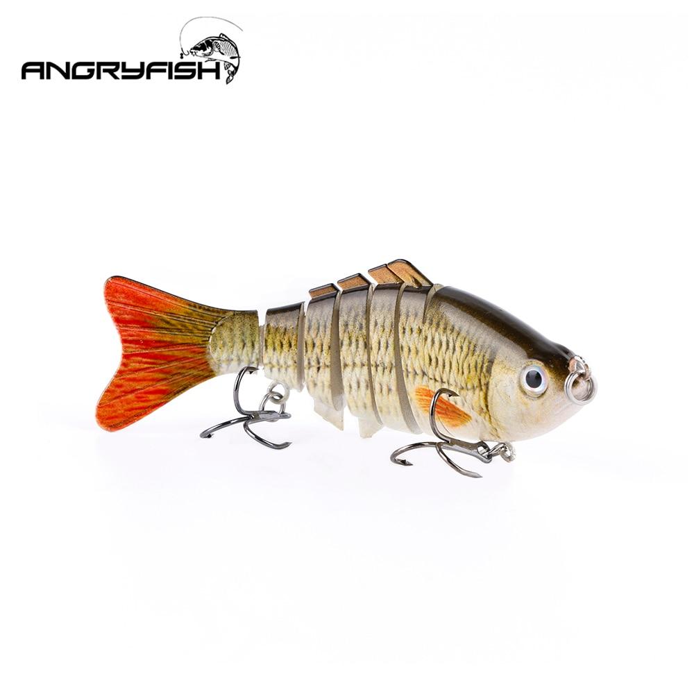 Angryfish venda quente 1 pçs 80mm 7.9g iscas de pesca 6 segmentos realista isca artificial 5 cores c8001