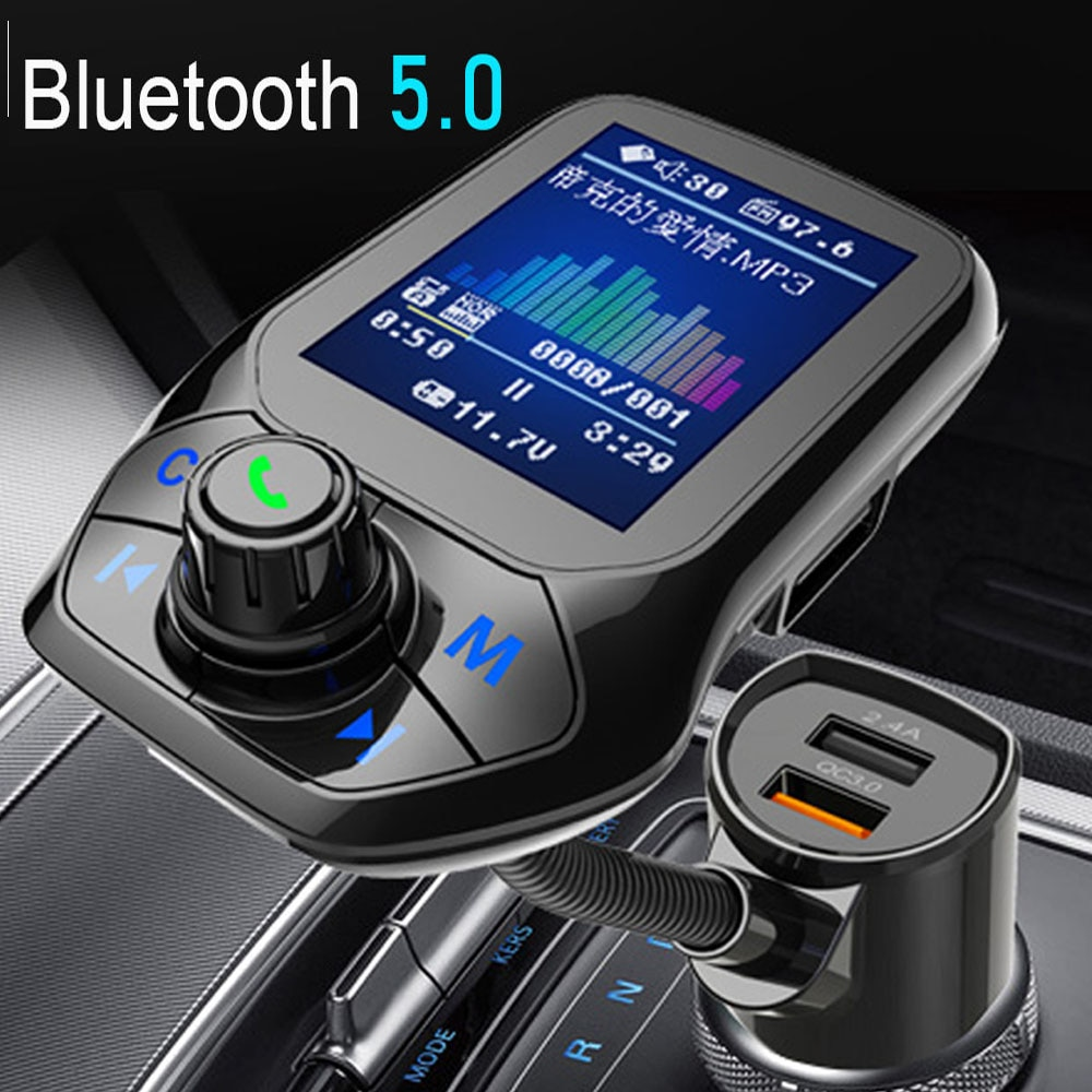 JINSERTA 2021 Car MP3 Music Player Bluetooth 5.0 receiver FM transmitter Dual USB QC3.0 Charger U di
