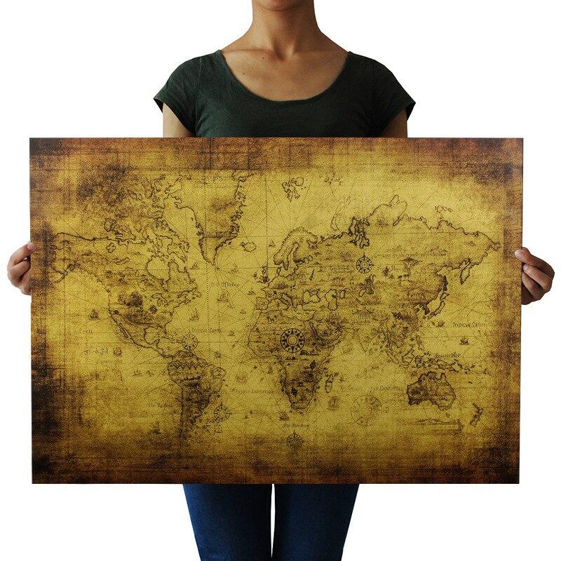 Винтажный постер с картой старого мира, 72*47 см, подарки, домашний декор, ретро крафт-бумага, большая карта с сокровищами, настенный стикер