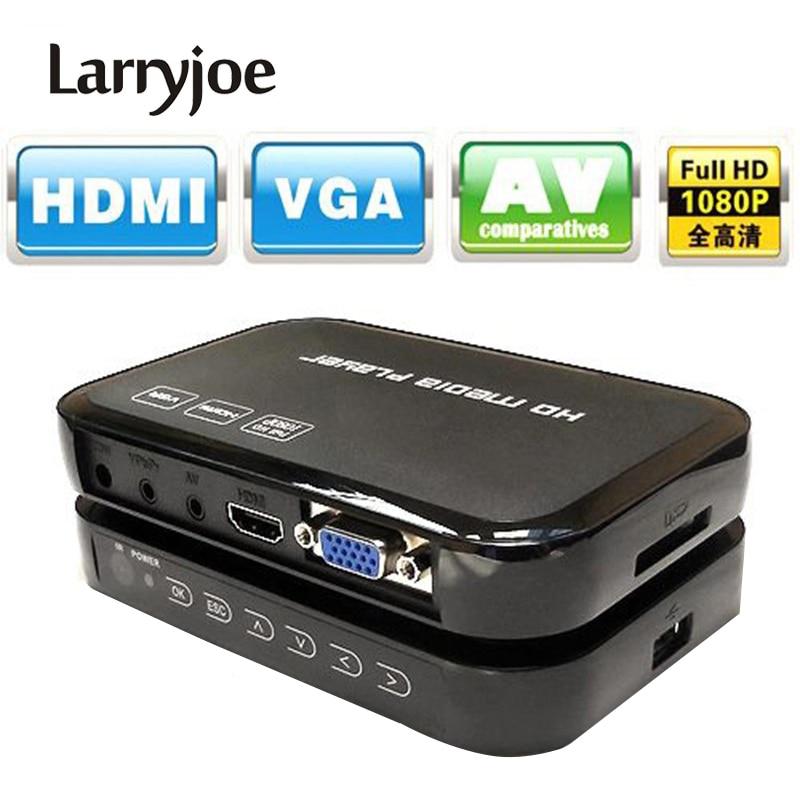 Larryjoe Multimedia Full HD 1080P HDMI Media Player Centro VGA AV HDMI salida con Control remoto