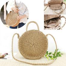 Rattan bag female fashion hand-woven straw bag round large capacity shoulder bag bohemian beach bag