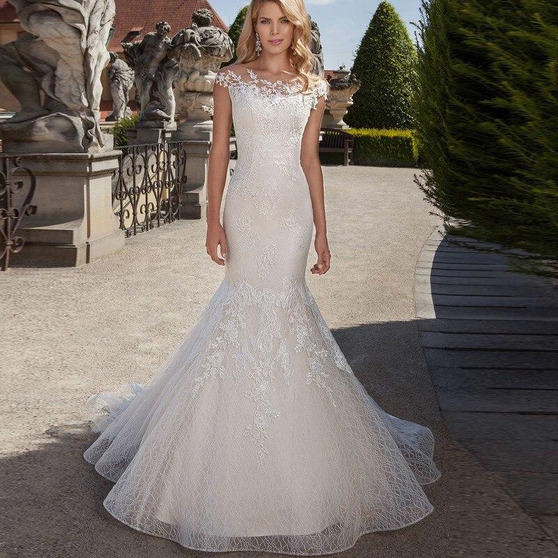 Custom Made Mermaid Wedding Dresses Lace Weding Dress 2019 See Though Neckline Robe Mariage Sweep Train Bridal Wedding Dress