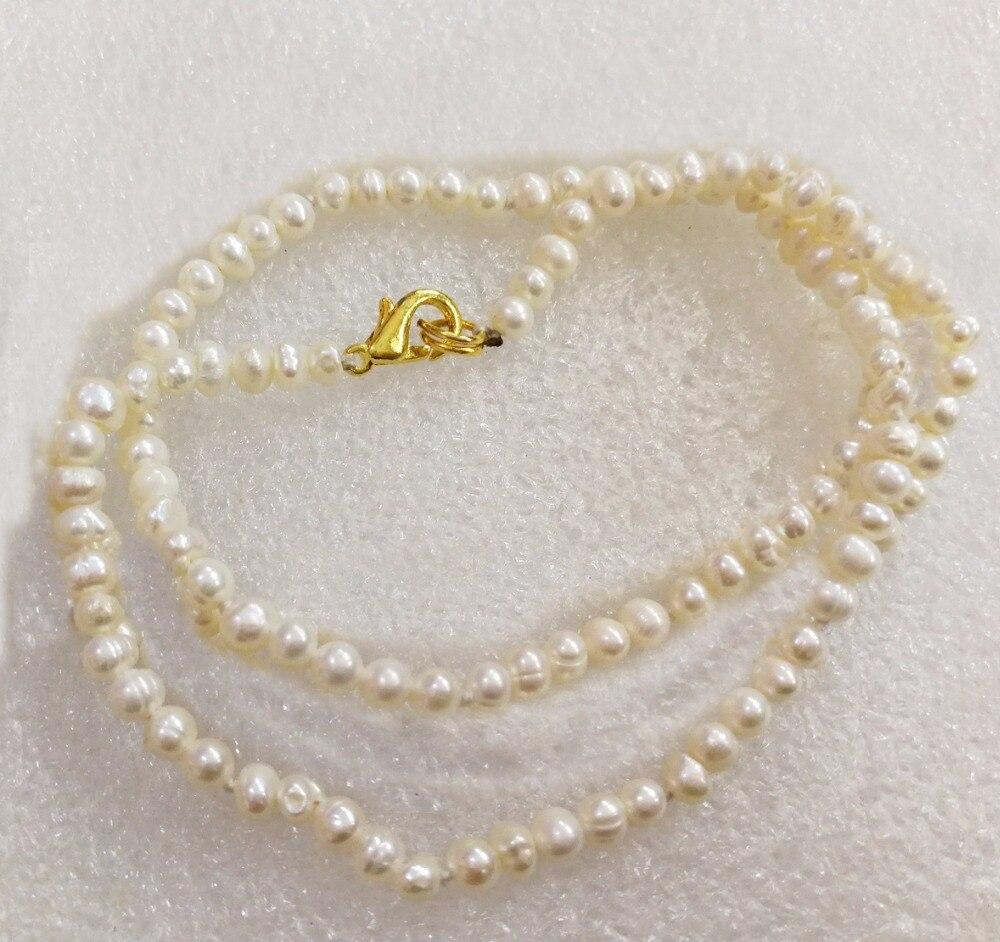 Женская мода ювелирные изделия 2-4 мм белый жемчуг Золотая застежка ожерелье натуральный пресноводный жемчуг подарок 16 40 см