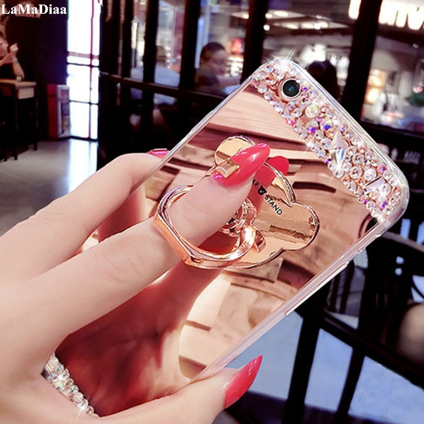 Luxe Rhinestone Case Voor Xiaomi 8 9 Se MAX2 5X Redmi 8A Note5A 7 6 8 Pro Case Glitter Spiegel meisjes Met Ring Houder Stand Soft