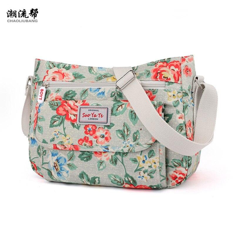 De las mujeres de la moda de marcas famosas de Nylon hombro Bolsa de playa flor impermeable bandolera Bolsa femenina bolso Bolsos Mujer Sac