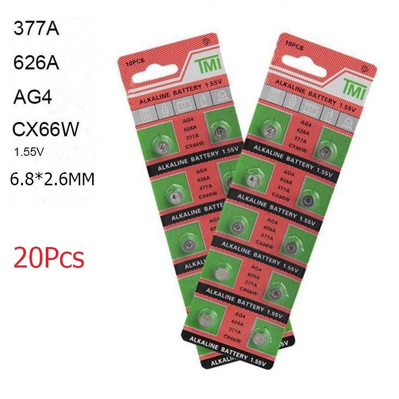 20 piezas AG4 377A LR626 626A CX66W 1,55 V * 6,8*2,6mm alcalinas pilas para reloj pila de botón baterías para aparatos de reloj calculadora