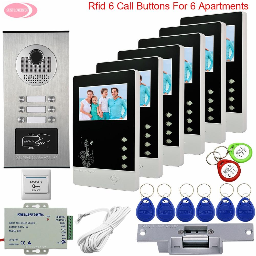 """6 intercomunicadores para el apartamento 4,3 """"videoportero 6 monitores llave para la puerta de entrada intercomunicador Control de Acceso Seguridad intercomunicador"""