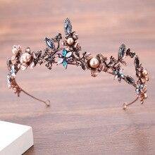 Magnifique Vintage or coloré cristal perle couronnes de mariée diadèmes accessoires de cheveux de mariage femmes Baroque couronne bijoux de cheveux