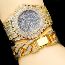 Men Hip Hop Gold Color Luxury Bling  Full CZ Crystal Watch Cuba Sandblast Bracelet  Set
