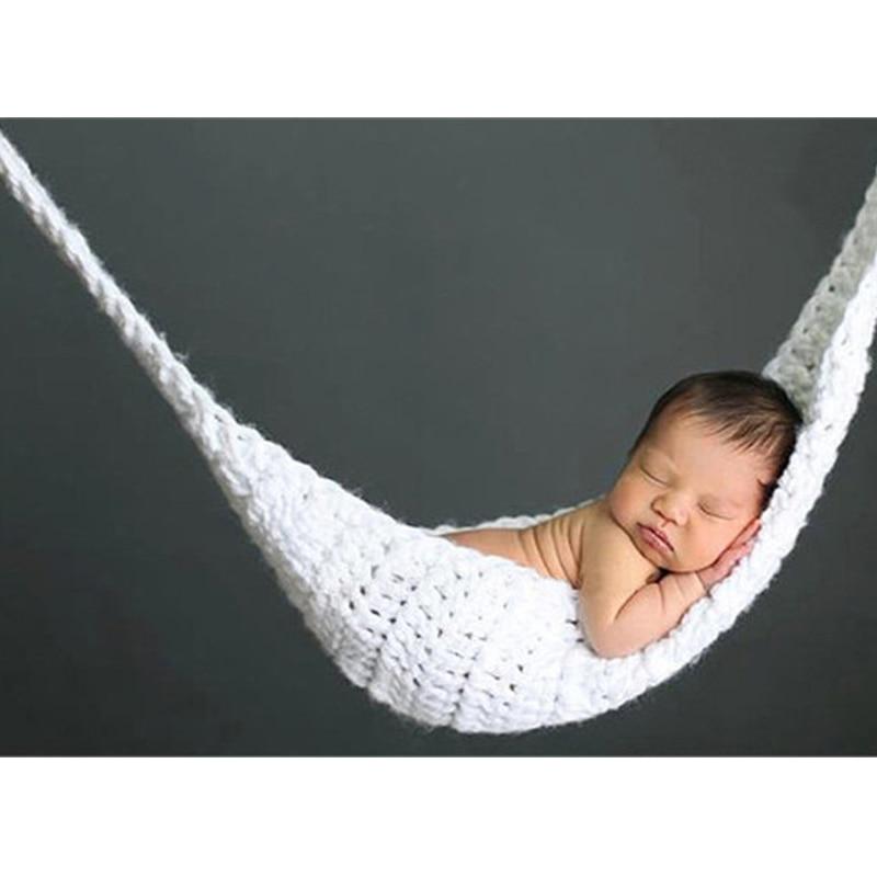 Белый вязаный гамак реквизит для фотосъемки новорожденных детей детский подвесной кокон для фотосессии трикотажная подвесная кровать для ...