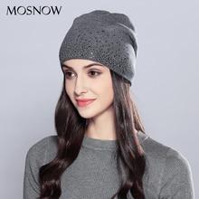 Bonnet dhiver en laine strass pour femmes   2019 Double couche épaisse, bonnet tricoté femmes Skullies, bonnet automne # MZ723