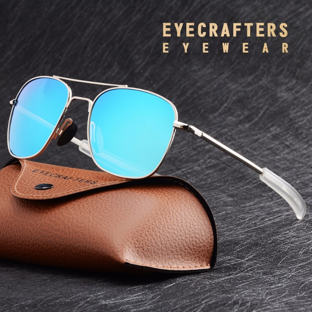 Mens Pilot Military Sunglasses Driving Mirrored Glasses Eyewear 2020 Blue Brand Designer Polarized S