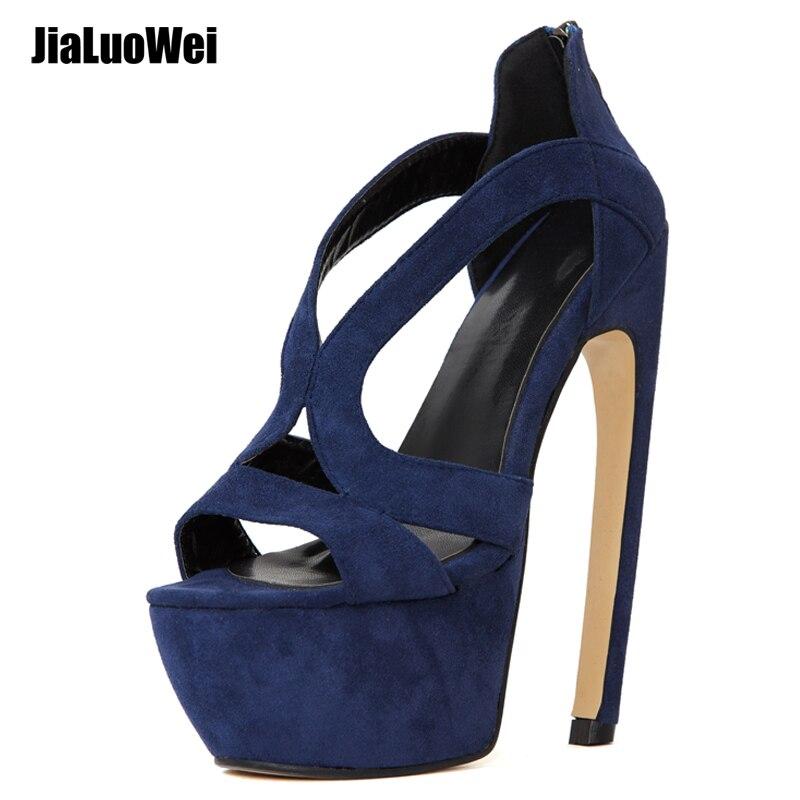 jialuowei Women Platform Sandals Sexy 18cm High Curve Heel Platform Shoes Female Open Toe Dress Party Night Show Shoes
