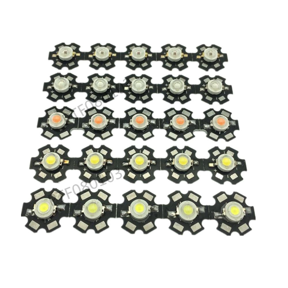 50pcs 1W 3W High Power LED light , Red, Green, Blue, Yellow, RGB,white(neutral White), Warm White, Cool White
