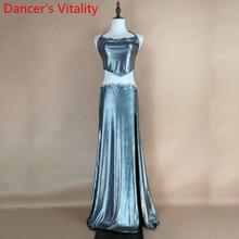 Women Belly Dance Practice Sling Top Fishtail Skirt Oriental Indian Dance Wear Performance Black Purple Silver 3Colors Garments