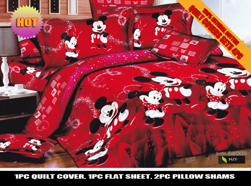Juego de cama rojo de Mickey Minnie Mouse para boda, acolchado tipo edredón, cubierta Individual Doble, tamaño King Size, sábanas para niñas y adultos