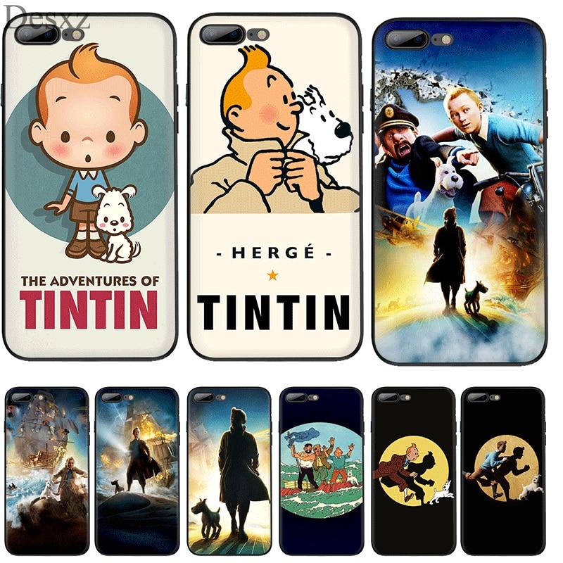 Funda para teléfono móvil para iPhone 11 Pro XR X XS X Max iPhone 6 iPhone 6 6S 7 7 Plus 5 5S cubierta de las aventuras de Tintín bolsa cubierta de la cáscara