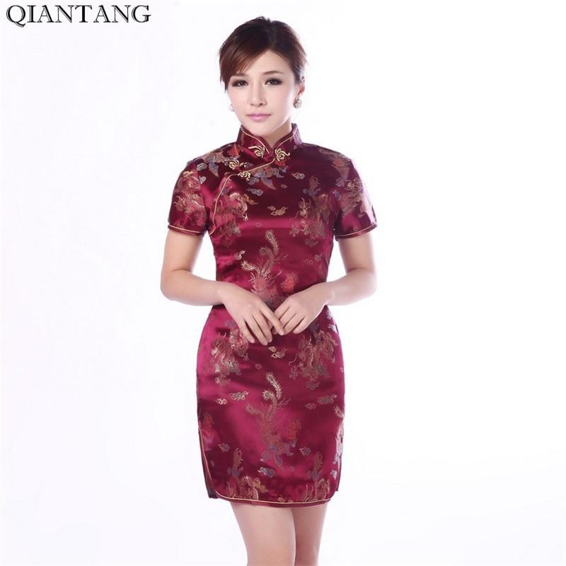 Vestido Cheongsam de satén tradicional chino de color borgoña para mujeres, nuevo verano, Mini Qipao talla M L XL XXL, Vestido Mujere Jy4061