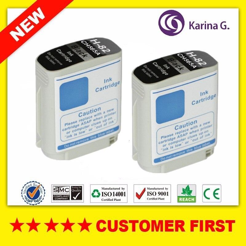 2X Preto Cartucho de tinta compatível para HP 82 CH565A HP82 terno para HP Designjet 10 ps/120nr/20 ps/500/500 Plus/500 ps/50 ps/510/800