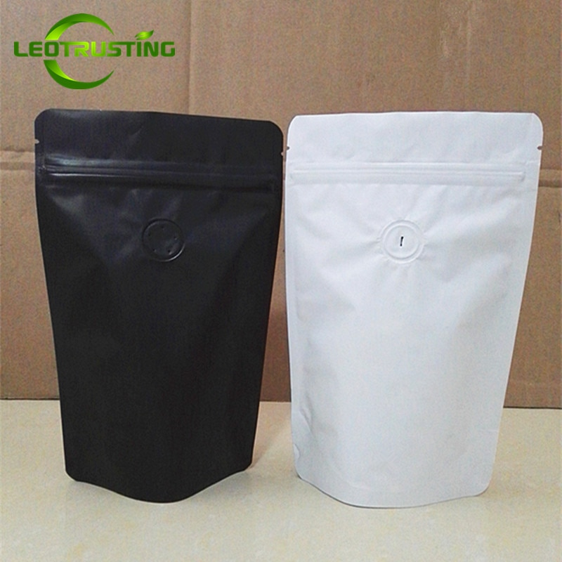 Leotrusting 50pcs Matt White/Black Aluminum Foil Coffee Valve Ziplock Bag Stand-up Foil Coffee Beans Packaging Bag 50g~2 pounds