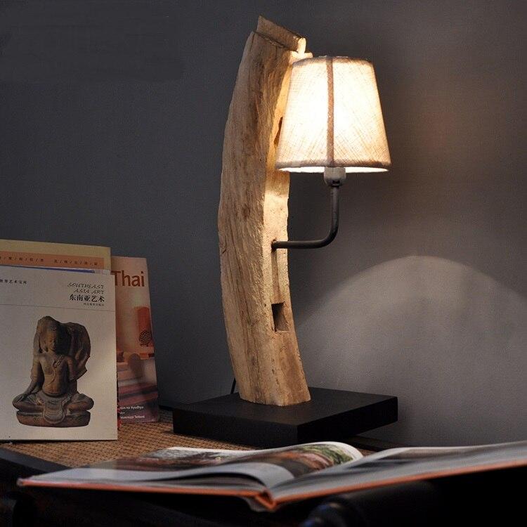 Estilo do sudeste Asiático pure handmade criativo quarto lâmpada de cabeceira de madeira sólida candeeiro de mesa candeeiro de Mesa quarto De hotel inn LO8918