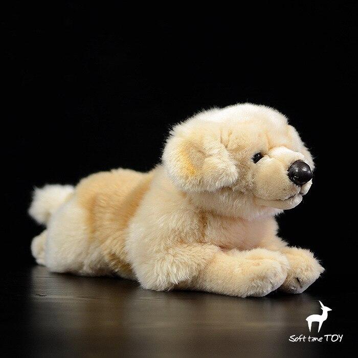 Tienda de juguetes de peluche Golden Retriever, muñeco de perros tumbado, lindo Animal de la vida Real, juguetes de felpa, almohada para bebé