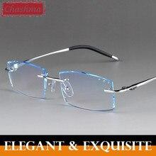 Randlose Titan Diamanten Schneiden Brillen Männlichen Farbigen Linsen Optische Rahmen