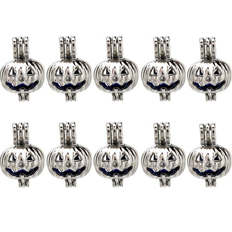 10 x K389 cuentas linterna calabaza jaula Aroma aceite esencial difusor perla medallón dijes para collar de pulsera