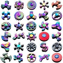 Arcobaleno Eptagonale A Mano Spinner agitarsi In Lega di Zinco del Metallo fidget spinner metallo cuscinetto edc dito Spinner Mano allevia lo stress