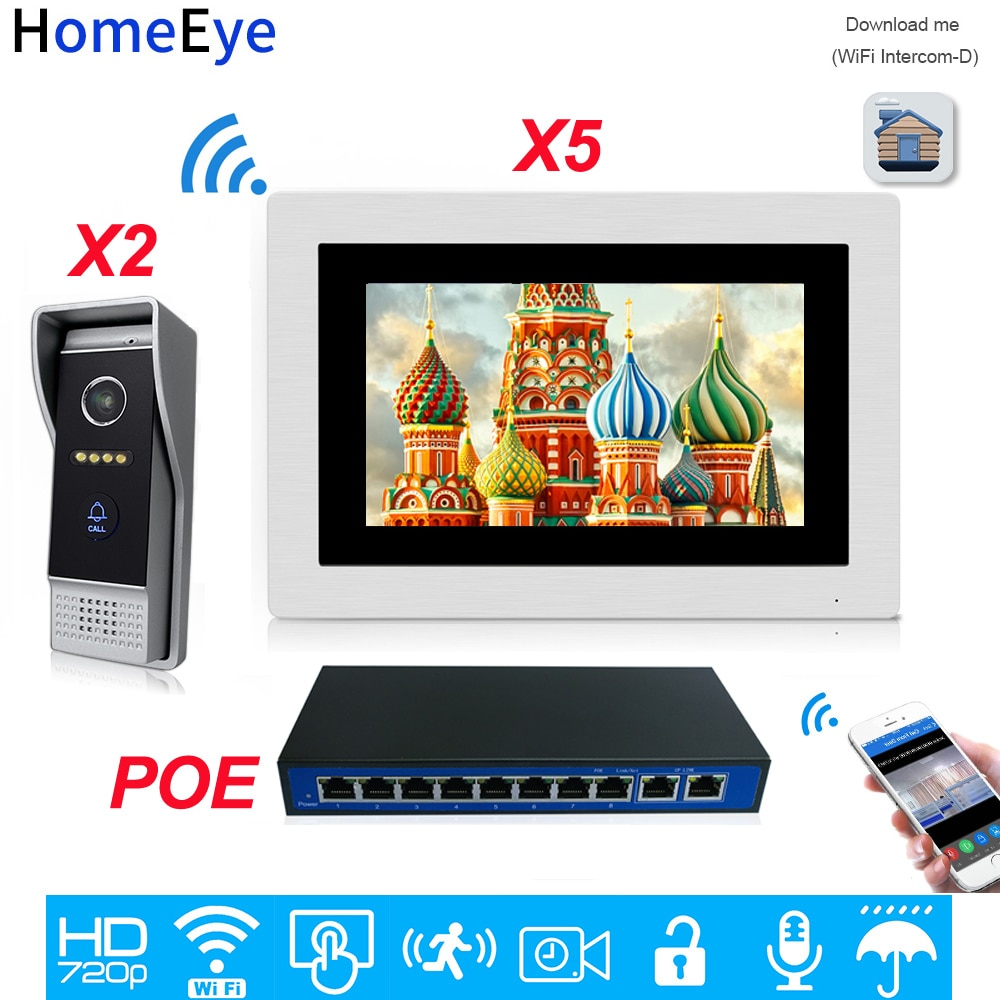 HomeEye 720P HD WiFi IP Video Door Phone Video Intercom Android/IOS APP Remote Unlock Home Access Control System 2-5+POE Switch