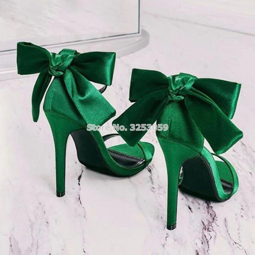 Almudena estilo doce sandálias de borboleta de seda fina salto alto verde rosa cetim pano tecido laço vestido sapatos borboleta-nó saltos