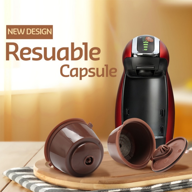 3 unids/set reutilizable Nescafe Dolce Gusto Filtro de cápsula de café taza rellenable tapas con cuchara cepillo filtro cestas Pod sabor suave S