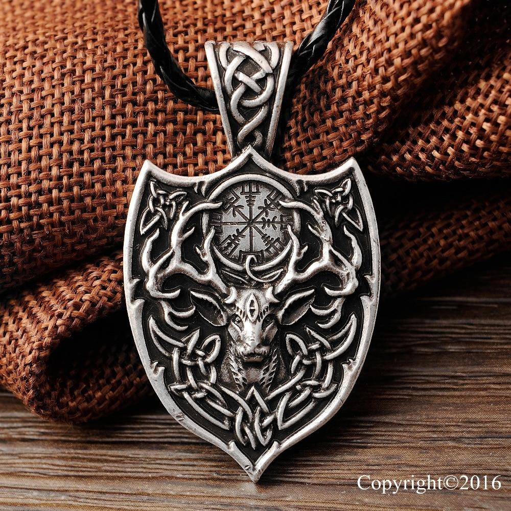 10 stücke Legendären Viking Aegishjalmur Amulett Anhänger Große Doppel Deer Sekira Viking Nordic Talisman Anhänger
