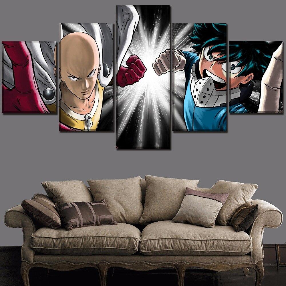 Leinwanddruck Malerei Home Decor Wall art Ein Satz 5 Panel Boku keine Hero Wissenschaft Izuku Midoriya Und Einem Schlag-Mann Saitama Poster