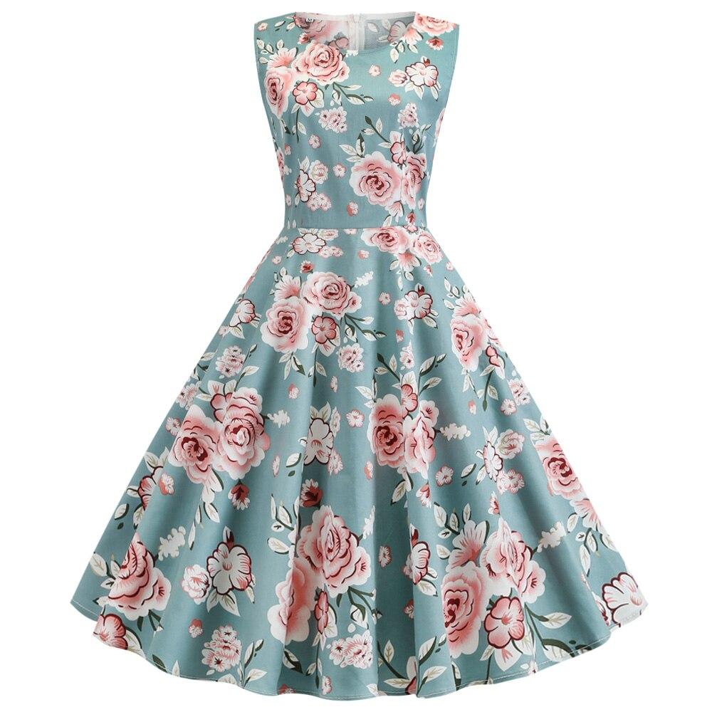 Vestido De verano De fiesta Retro sin mangas, estampado Floral, para Mujer,...