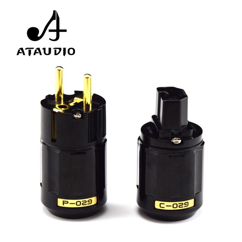 ATAUDIO Hifi Plug Power de Alta Qualidade de Ouro-banhado Conector de Alimentação de Um Par Da Ue + IEC conector fêmea