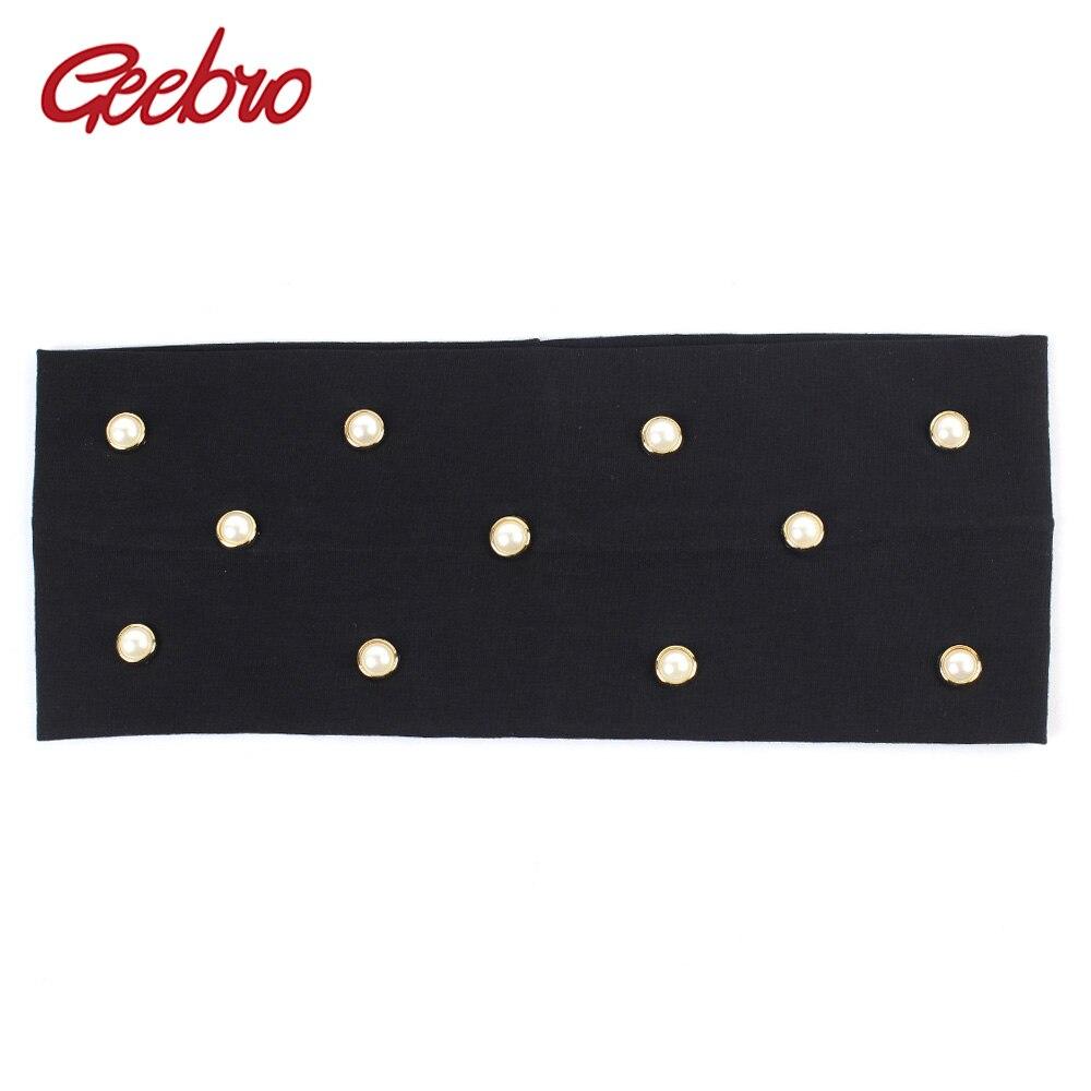 Diadema de perlas Geebro para mujer, diadema elástica plana de algodón con diamantes de imitación para niñas, accesorios para el cabello hechos a mano DIY