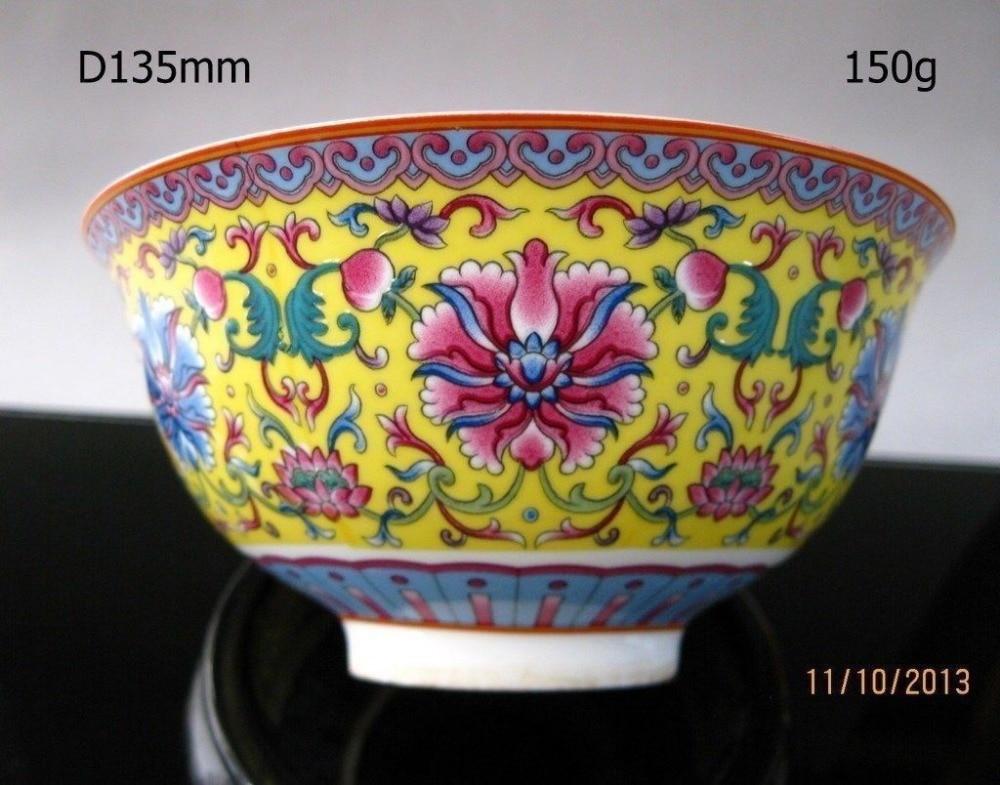 Cuenco chino de porcelana rosa de flores pintadas a mano marca qianlong