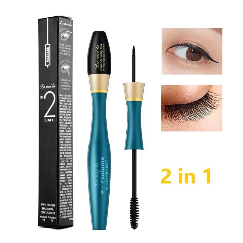 Neue Wimpern Mascara 2in1 Wasserdichte Verlängerung Schwarz Dicken Verlängerung Curl Wimpern Kosmetik Lang Anhaltende Keine Blockierung Augen Make-Up