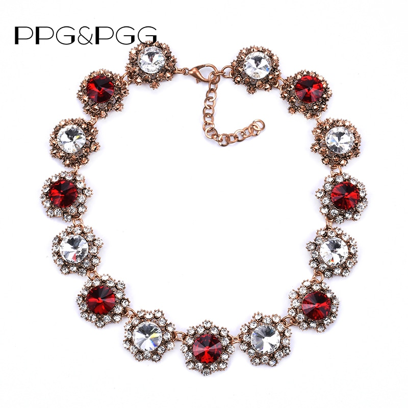 PPG & PGG 2018 la joyería más nueva de Estados Unidos de marca de lujo de moda de diamantes de imitación de flor gargantilla collares para mujeres 2018